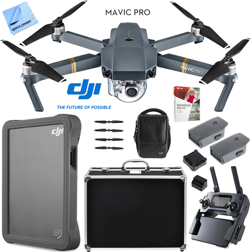 DJI Mavic Pro Quadcopter Drone Fly More Combo Pack Triple Battery w/ Case 2TB HD Kit