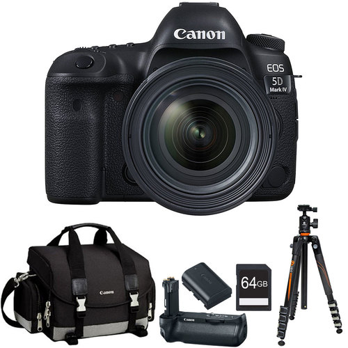 Canon EOS 5D Mark IV Full Frame CMOS DSLR Camera + EF 24-70mm f/4L IS USM Lens Bundle