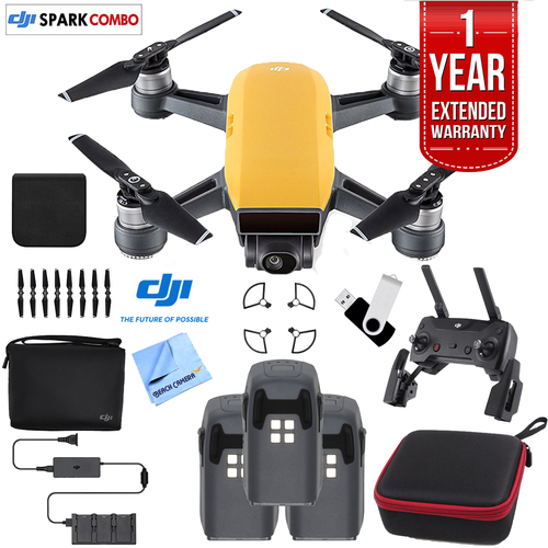 DJI SPARK Fly More Drone Combo Sunrise Yellow - CP.PT.000900 Triple Battery Bundle