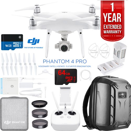 DJI Phantom 4 Pro Quadcopter Drone + Battery Charging Hub and Custom Backpack