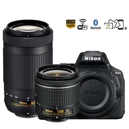 Nikon D5600 24.2MP DSLR Camera AF-P 18-55mm VR 70-300mm ED Lens Certified Refurbished