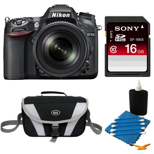 Nikon D7100 DX-Format Digital HD-SLR with 18-105mm Lens 16GB Bundle
