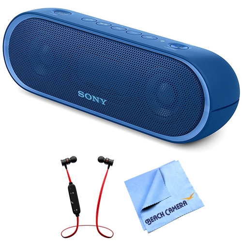 Sony XB20 Portable Wireless Bluetooth Speaker Blue with Headphones Bundle