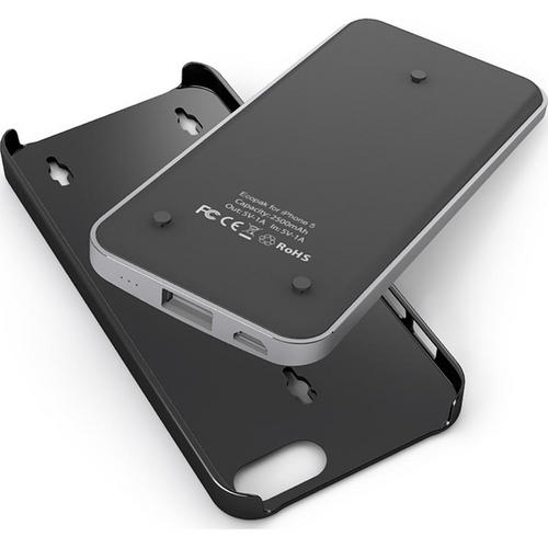 uNu Ecopak iPhone 5 Case -Snap-on Case and Detachable Battery (Silver/Black)