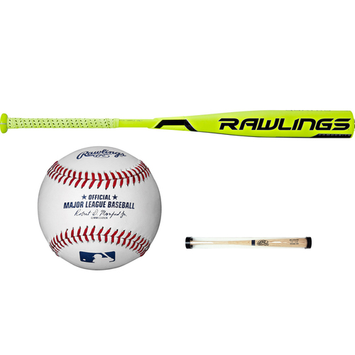 Rawlings Quatro Composite High School/College BBCOR Baseball Bat+Ball and Sleeve