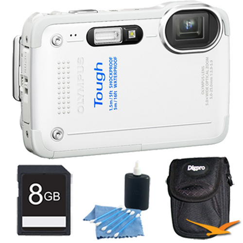 Olympus STYLUS TG-630 12MP 3-inch LCD 1080p HD Digital Camera White with 8GB Kit