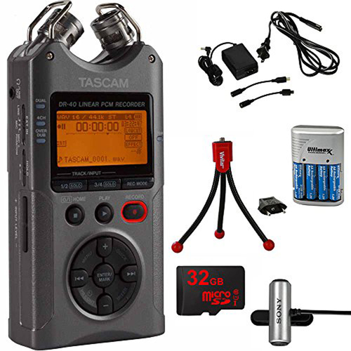 Tascam DR-40 Portable Digital Recorder Luminous Gray with 32GB Charging Bundle