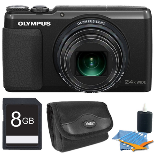Olympus Stylus SH-50 iHS 16MP 24x Wide / 48x SR Zoom HD Digital Camera Black 8 GB Kit