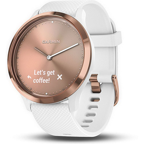 Vivomove HR Sport Hybrid Smartwatch, Rose Gold with White Band (Small/Medium)