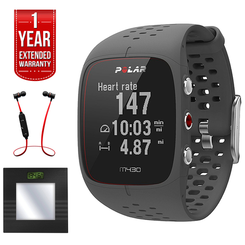 Polar M430 GPS Running Watch, Grey + Bluetooth Scale Bundle