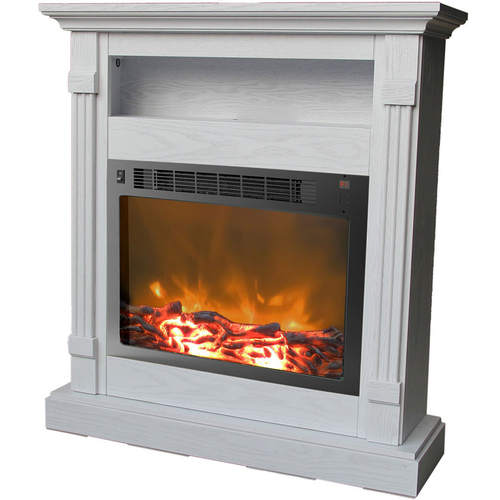 Cambridge Sienna Fireplace Mantel with Electronic Fireplace Insert in White - CAM3437-1WHT