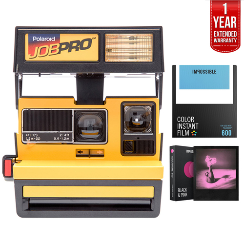 Polaroid 600 Job Pro Instant Film Camera Yellow + Extended Warranty