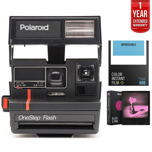 Impossible 600 Instant Film Square Camera w/ Automatic Flash + Extended Warranty