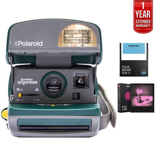 Polaroid 600 Round Camera Green + 1 Year Extended Warranty Bundle