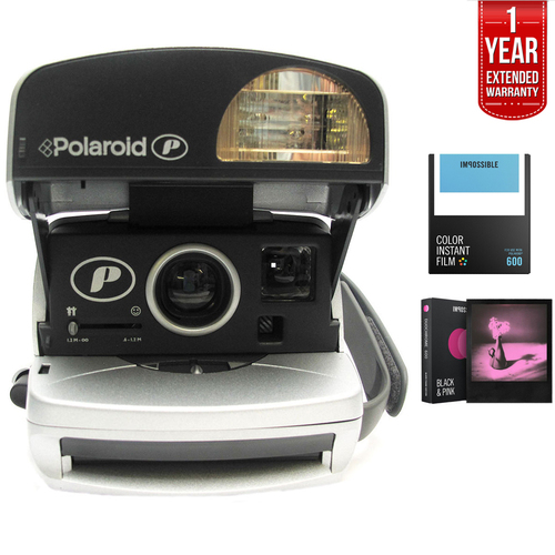 Impossible Polaroid 600 Round Camera Silver + 1 Year Extended Warranty Bundle
