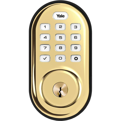 Yale Locks Assure Lock Push Button in Polished Brass (Standalone) (YRD216)