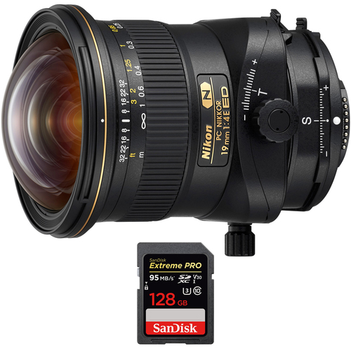 Nikon PC NIKKOR 19mm f/4E ED Ultra-Wide-Angle Tilt Shift Lens w/ 128GB Memory Card
