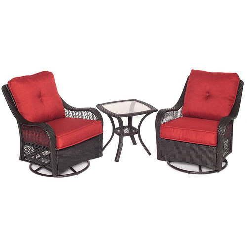 Hanover Orleans 3 Piece Swivel Rocking Chat Set in Autumn Berry - ORLEANS3PCSW-B-BRY