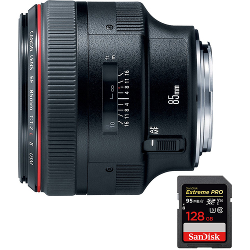 Canon EF 85mm F/1.2L II USM Telephoto Lens with SDXC 128GB UHS-1 Memory Card