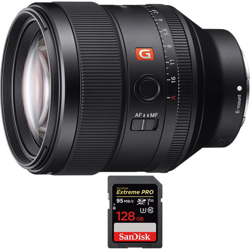 Sony FE 85mm F1.4 GM Full Frame E-Mount Lens with SDXC 128GB UHS-1 Memory Card