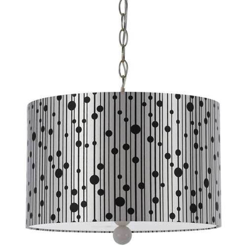 AF Lighting Drizzle Pendant- Silver Shade/White Finial - 8443-3H