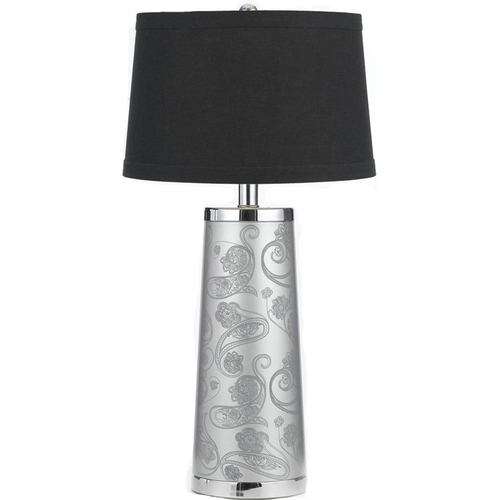AF Lighting Henna Paisley Table Lamp Crafted Silver Foil Paper Printed in Black - 8622-TL