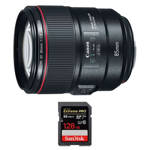 Canon 85mm f/1.4L IS USM Fixed Prime DSLR Camera Lens w/ 128GB Memory Card