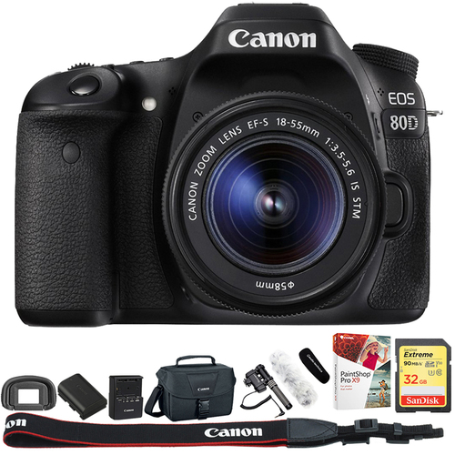 Canon EOS 80D CMOS DSLR Camera + EF-S 18-55mm IS STM Lens + 32GB Reporter Kit