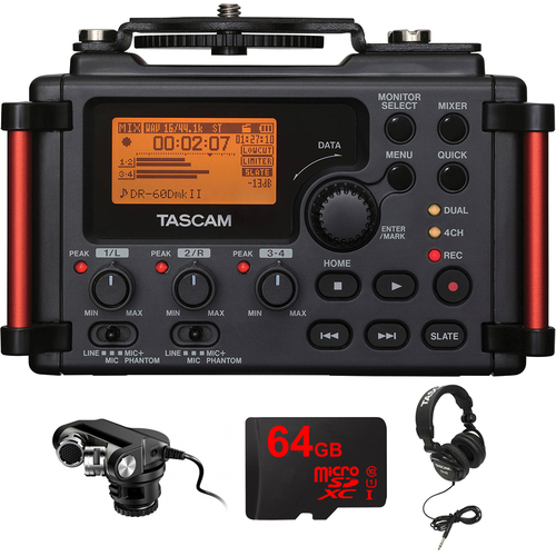 Tascam Portable Recorder for DSLR with Plug-in Microphone for DSLR Bundle