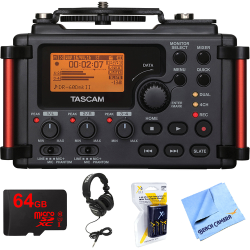 Tascam Portable Recorder for DSLR with 64GB MicroSDXC Memory Card Bundle