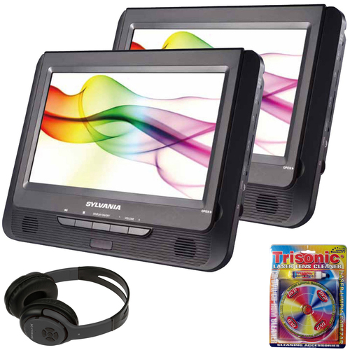 Sylvania 9` Twin Dual Screen DVD Player with Bluetooth Headphones Bundle