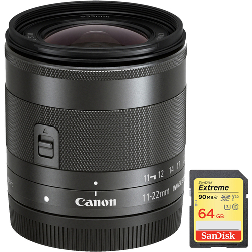 Canon Wide Angle EF-M 11-22mm f/4-5.6 IS STM Lens with Sandisk 64GB Memory Card