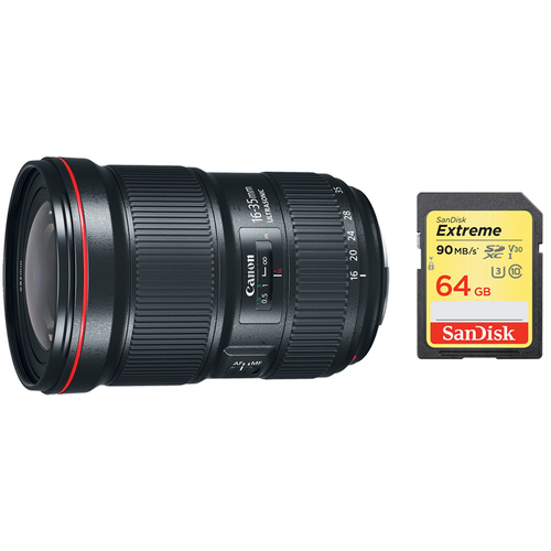 Canon EF 16-35mm f/2.8L III USM Ultra Wide Angle Zoom Lens & 64GB Memory Card Bundle