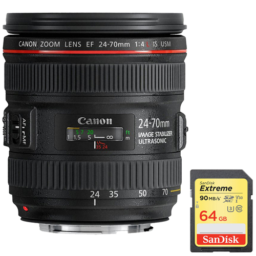 Canon EF 24-70mm F/4L IS USM Standard Zoom Lens w/ 64GB Memory Card