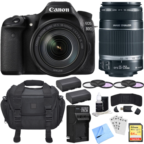 Canon EOS 80D CMOS DSLR Camera w/ EF-S 18-135mm + 55-240mm Telephoto Lens 64GB Bundle
