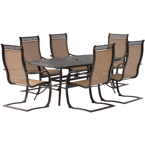 Hanover Manor 7-Piece Dining Set with C-Spring Chairs and Dining Table - MANDN7PCSP
