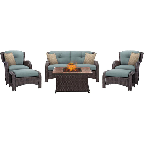 Hanover Montana 6-Piece Lounge Set in Ocean Blue with Fire Pit Table - MON6PCFP-BLU