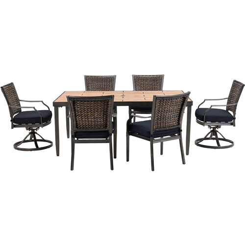 Hanover Mercer 7-Piece Dining Set in Navy Blue - MERCDN7PCSW-NVY