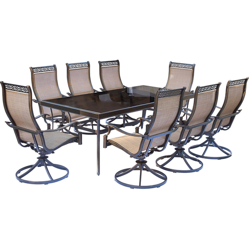 Hanover Monaco 9-Piece Dining Set with Swivel Rockers and Dining Table- MONDN9PCSWG