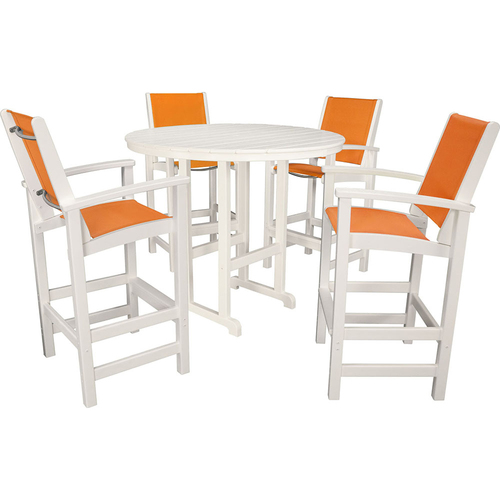 Hanover Hanover All-Weather Nassau 5pc Bar Set: 4 Sling Bar Chars 1 Bar Table