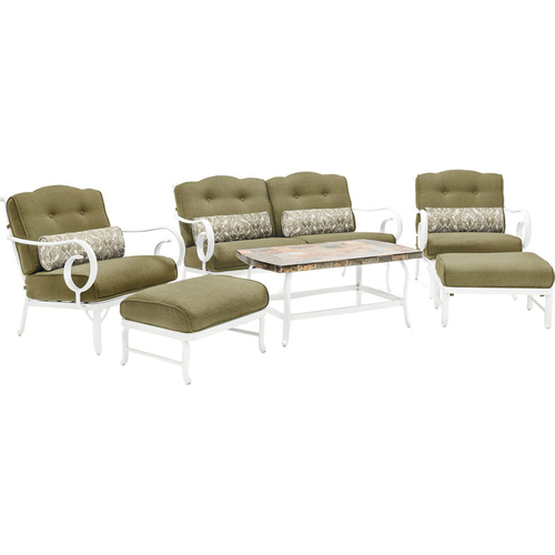 Hanover Oceana 6-Piece Patio Seating Set in Vintage Meadow - OCECST6PC-MDW
