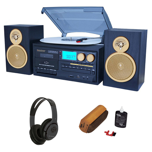 Boytone Bluetooth Classic Style Record Player Turntable + Bluetooth Headphones Bundle