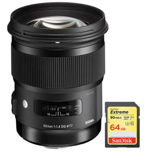 Sigma 50mm f/1.4 DG HSM Lens for Sony A Cameras with Sandisk 64GB Memory Card