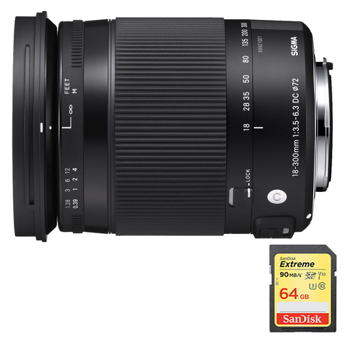Sigma 18-300mm F3.5-6.3 DC Macro OS HSM Lens for Canon EF Cameras w/64GB Memory Card
