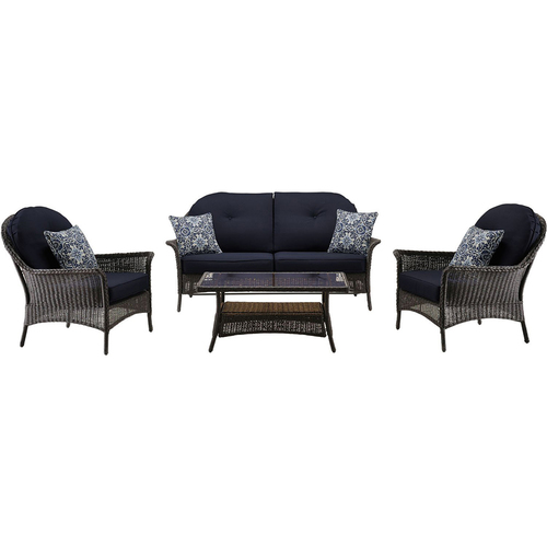 Hanover San Marino 4-Piece Seating Set in Navy Blue - SMAR-4PC-NVY