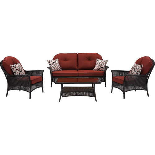 Hanover San Marino 4-Piece Seating Set in Crimson Red - SMAR-4PC-RED