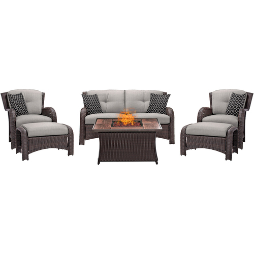 Hanover Strathmere 6-Piece Lounge Set in Silver Lining - STRATH6PCFP-SLV-WG