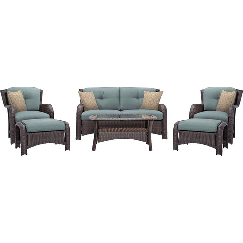 Hanover Strathmere 6-Piece Seating Set in Ocean Blue - STRATHMERE6PCBLU
