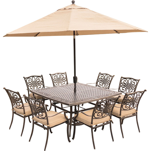 Hanover Traditions 9-Piece Dining Set in Tan - TRADDN9PCSQ-SU