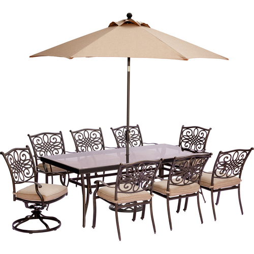 Hanover Traditions 9-Piece Dining Set in Tan - TRADDN9PCSW2G-SU